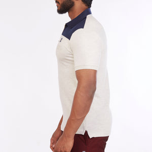 DB022 Collar Cut & Sew Polo Tee Shirts - Navy & Ecru Melange