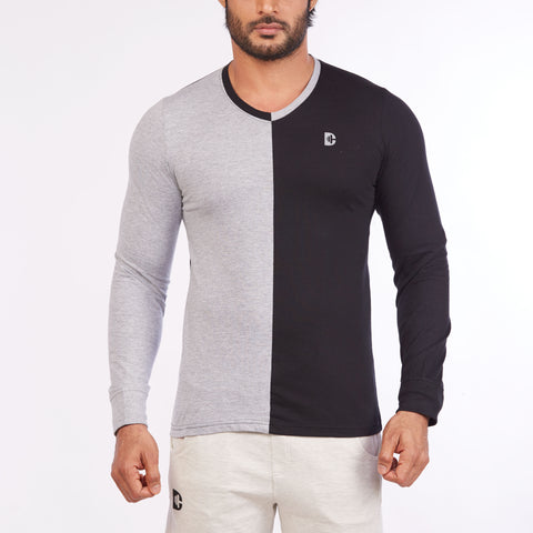 DB045 - Contrast Cut & Sew Full Sleeve Tees Grey Melange/Black
