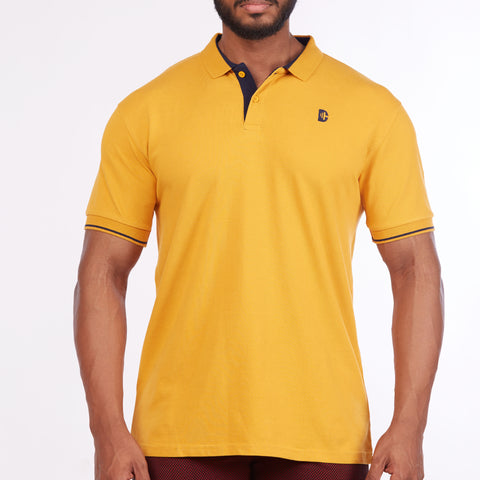 DB072 Collar Contrast Cut & Sew Polo Tees - Mustard