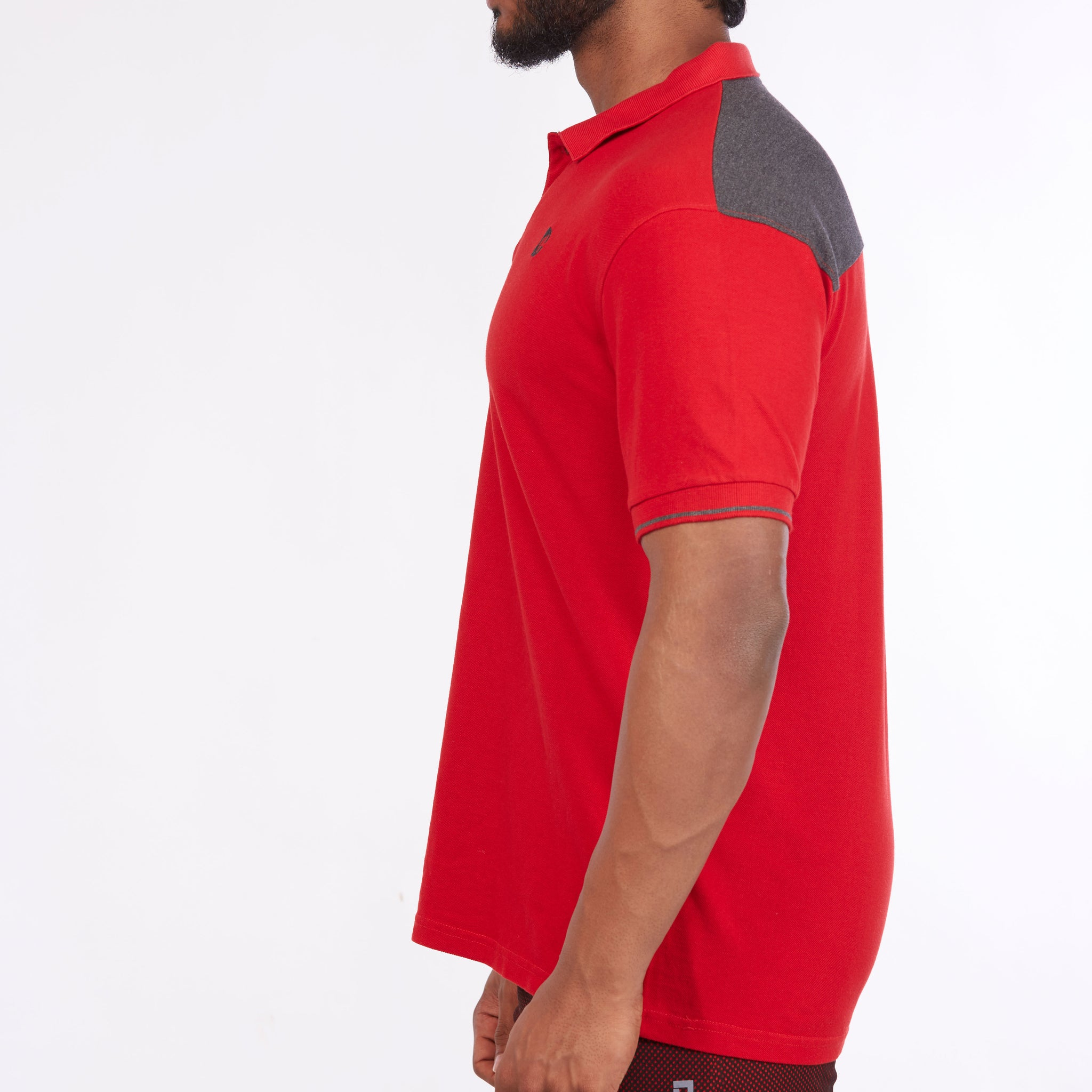 DB072 Collar Contrast Cut & Sew Polo Tees - Red