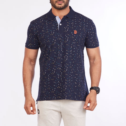 DB001 Printed Polo Tee Shirts - Navy
