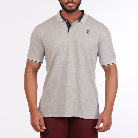 DB072 Collar Contrast Cut & Sew Polo Tees - Grey Melange