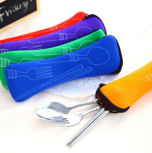 Juegos De Vajillas Lunch Box for Kids Lancheira Pcs/set Fork Spoon Travel Stainless Steel Tableware Portable Camping Bag Picnic
