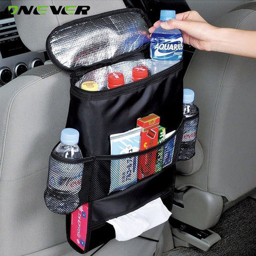 Onever Car Seat Back Hanging Bag Organizer Multi-pocket Insulated Food Water Storage Mesh Bag Container Car Stowing Tidying Bags