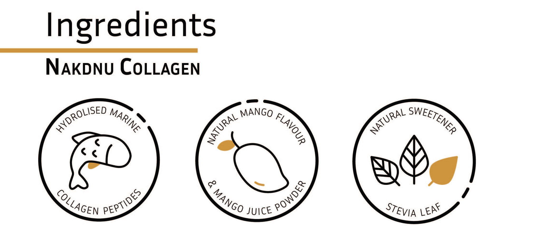 Nakdnu Collagen Beauty Powder Mango Ingredients