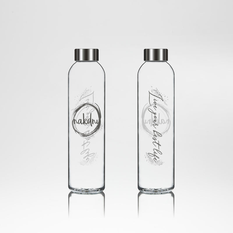 Nakdnu 'Live your best life' Glass Bottle - Silver