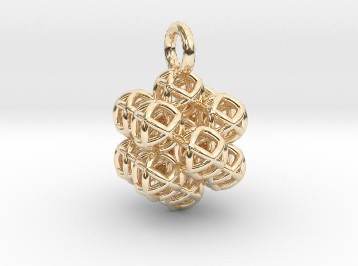 13 Vector Equilibrium Spheres Fractal - 19mm-Pendants and Necklaces-14k Gold Plated Brass-Sacred Geometry Web 3d printed jewellery