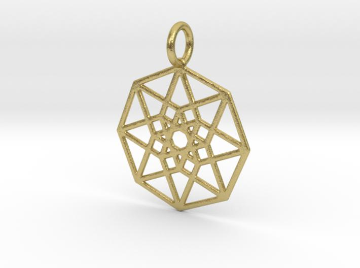 2D Hypercube 29mm-Pendants and Necklaces-Natural Brass-Sacred Geometry Web 3d printed jewellery