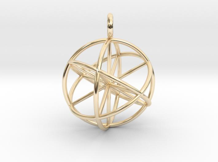 3D Seed of Life 30mm-Mathematical Art-14k Gold Plated Brass-Sacred Geometry Web 3d printed jewellery