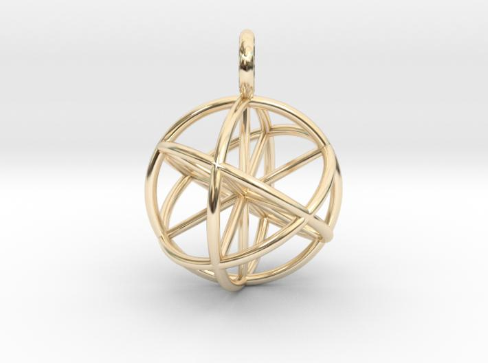 3D Seed of Life Pendant 20mm-Pendants and Necklaces-14k Gold Plated Brass-Sacred Geometry Web 3d printed jewellery