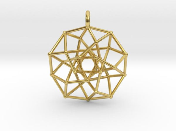 4D Archimedean Hyperform Toroidal Projection-Pendants and Necklaces-Polished Brass-Sacred Geometry Web 3d printed jewellery