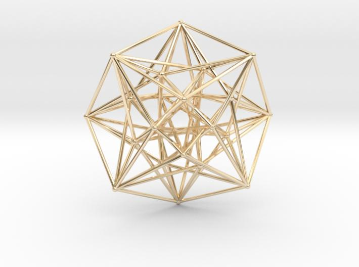 4D Vector Equilibrium Metatron's Compass 50mm-Other-14k Gold Plated Brass-Sacred Geometry Web 3d printed geometric models