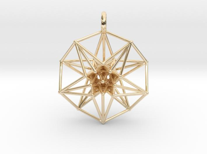 5D Hypercube Pendant - 3 Sizes 37mm / 42mm / 50mm-Mathematical Art-14k Gold Plated Brass-Sacred Geometry Web 3d printed jewellery