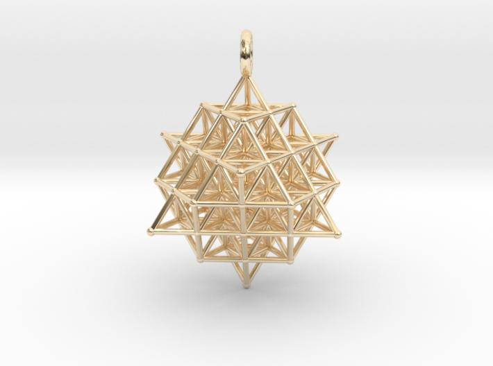 64 Tetrahedron Grid 35mm Pendant-Pendants and Necklaces-14k Gold Plated Brass-Sacred Geometry Web 3d printed jewellery
