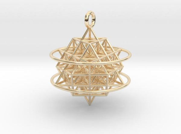 64 Tetrahedron Grid with Boundary Circles-Mathematical Art-14k Gold Plated Brass-Sacred Geometry Web 3d printed jewellery