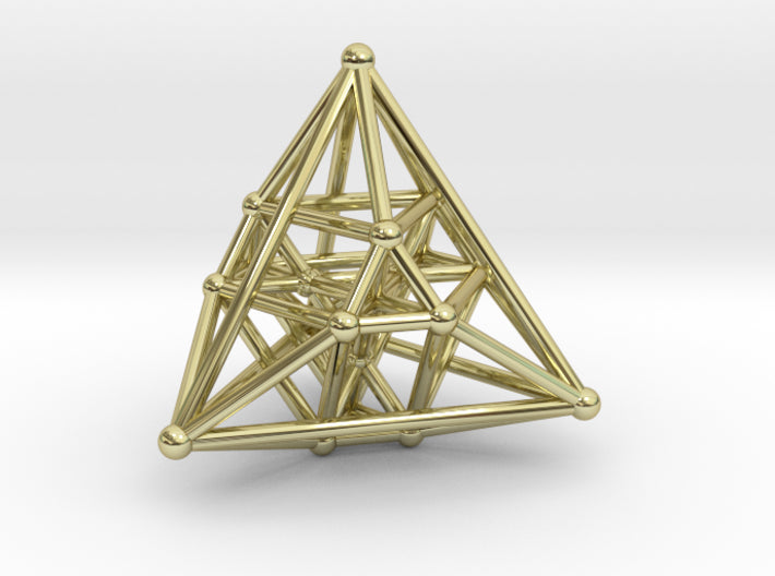 Hyper Tetrahedron Vector Net 44mm-Mathematical Art-18k Gold Plated Brass-Sacred Geometry Web 3d printed geometric models