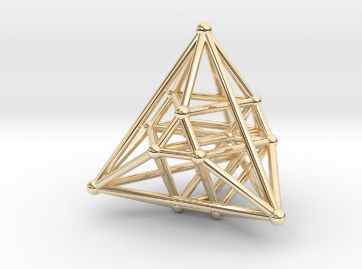 Hyper Tetrahedron Vector Net 33mm-Mathematical Art-14k Gold Plated Brass-Sacred Geometry Web 3d printed geometric models