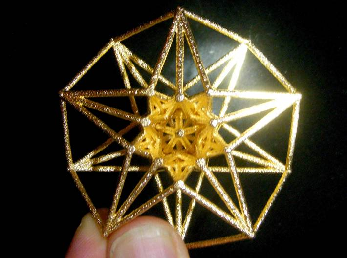5 dimensional Toridal HyperCube 50mm-Mathematical Art-Polished Gold Steel-Sacred Geometry Web 3d printed geometric models