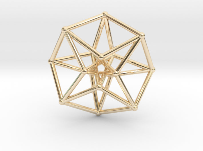 Toroidal Hypercube 35mm Time Traveller-Mathematical Art-14k Gold Plated Brass-Sacred Geometry Web 3d printed geometric models