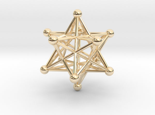 Stellated Dodecahedron 40mm-Other-14k Gold Plated Brass-Sacred Geometry Web 3d printed geometric models