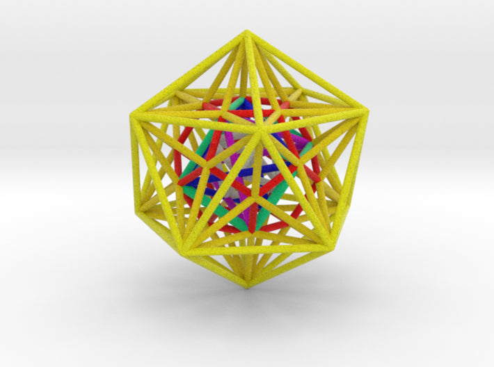 Nested Platonics Yellow 100mm-Mathematical Art-Natural Full Color Sandstone-Sacred Geometry Web 3d printed geometric models