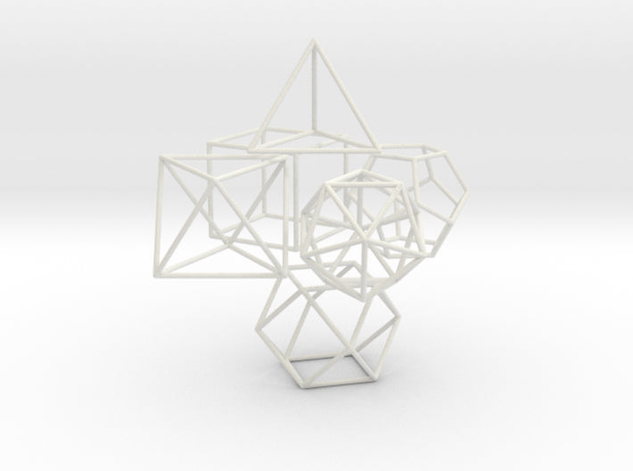 Small Set Of Platonics+VectorEquilibrium - 30mm height-Mathematical Art-White Natural Versatile Plastic-Sacred Geometry Web 3d printed geometric models