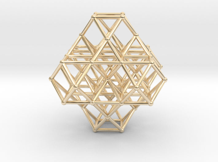 Vector Equilibrium Cuboctahedrons Grid 8xOcta 7xVE-Mathematical Art-14k Gold Plated Brass-Sacred Geometry Web 3d printed geometric models
