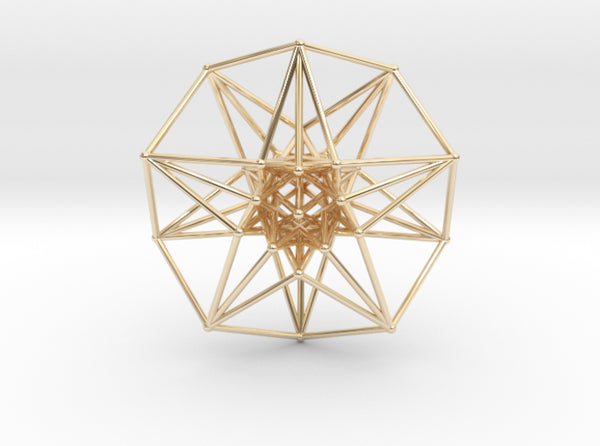 5 Dimensional Toroidal HyperCube 42mm-Mathematical Art-14k Gold Plated Brass-Sacred Geometry Web 3d printed geometric models