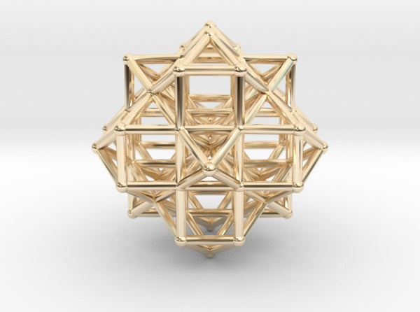 Vector Equilibrium Cluster 8xVE 7xOcta 50mm-Memes-14k Gold Plated Brass-Sacred Geometry Web 3d printed geometric models