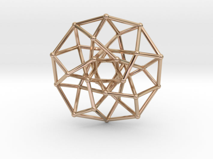 4D Archimedean Hyperform Toroidal Projection-Mathematical Art-14k Rose Gold Plated Brass-Sacred Geometry Web 3d printed geometric models
