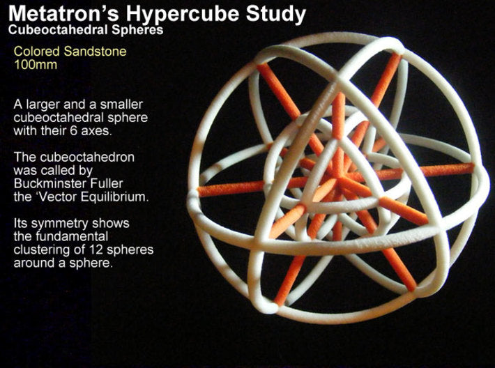 Metatron's Hypercube Spheres 80mm-Other-Natural Full Color Sandstone-Sacred Geometry Web 3d printed geometric models