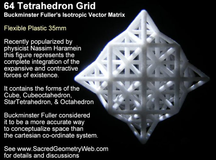 Sacred Geometry: 64 Grid Tetrahedron 35x1mm-Mathematical Art-White Natural Versatile Plastic-Sacred Geometry Web 3d printed geometric models