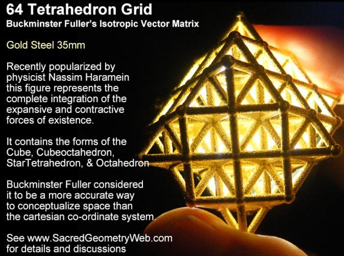 64 Tetrahedron Grid 45mm-Mathematical Art-White Natural Versatile Plastic-Sacred Geometry Web 3d printed geometric models
