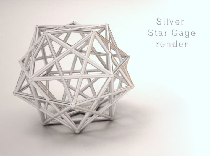 Dodecahedral Star Cage 35mm-Mathematical Art-Polished Silver-Sacred Geometry Web 3d printed geometric models