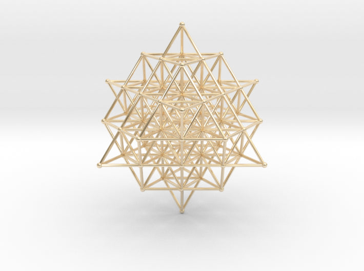 64 Tetrahedron Grid - 65mm-Mathematical Art-14k Gold Plated Brass-Sacred Geometry Web 3d printed geometric models