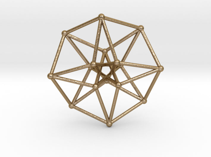 Toroidal Time Traveller Hypercube 100mm-Other-Polished Gold Steel-Sacred Geometry Web 3d printed geometric models