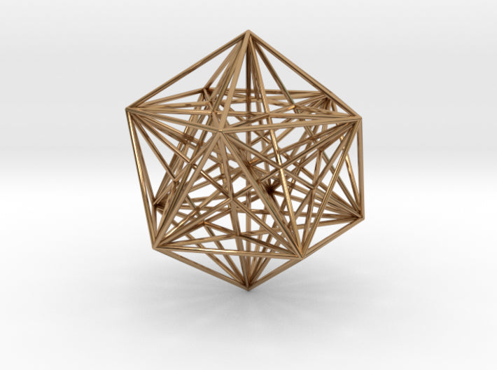 Icosahedron with Stellated Dodeca-Pendants and Necklaces-Polished Brass-Sacred Geometry Web 3d printed geometric models