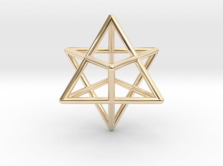 Startetrahedron Merkabah 35mm-Mathematical Art-14K Yellow Gold-Sacred Geometry Web 3d printed geometric models