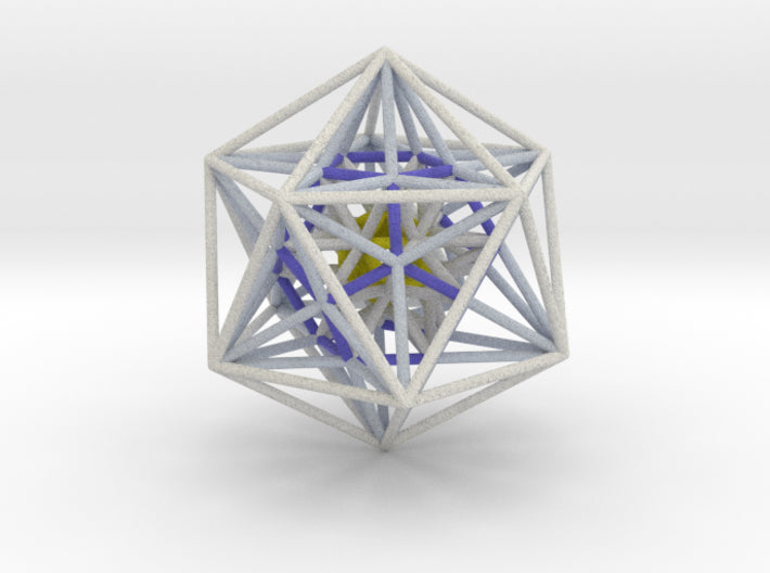 Icosahedron Dodecahedron nest White 100mm-Mathematical Art-Natural Full Color Sandstone-Sacred Geometry Web 3d printed geometric models