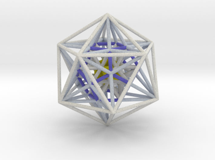 Nested Icosa Dodeca Icosa 100mm - Yellow Core-Other-Natural Full Color Sandstone-Sacred Geometry Web 3d printed geometric models