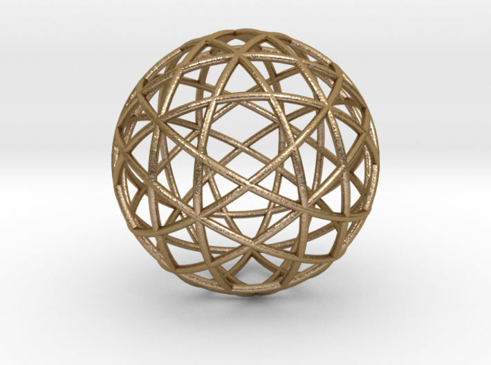 Star Cage: Sacred Geometry 12 Circles 40mm-Mathematical Art-Polished Gold Steel-Sacred Geometry Web 3d printed geometric models