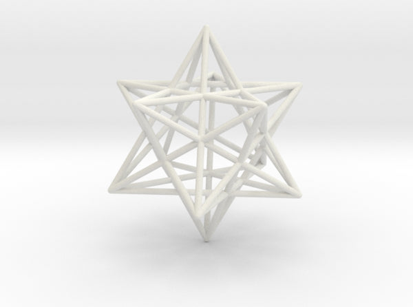 Stellated Dodecahedron 35mm-Mathematical Art-White Natural Versatile Plastic-Sacred Geometry Web 3d printed geometric models