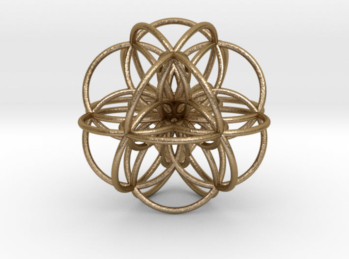 Seed of Life: Cuboctahedral Flower-Earrings-Polished Gold Steel-Sacred Geometry Web 3d printed geometric models