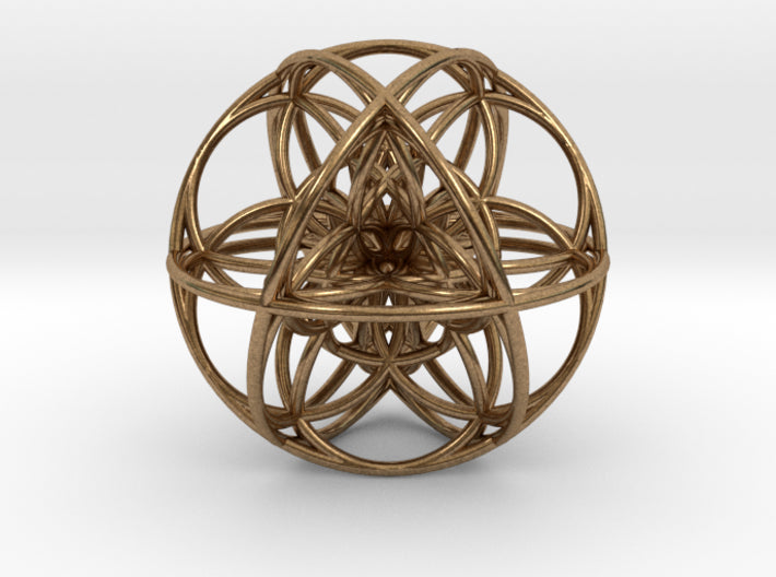 Cuboctahedral 3D Seed of Life-Mathematical Art-Natural Brass-Sacred Geometry Web 3d printed geometric models
