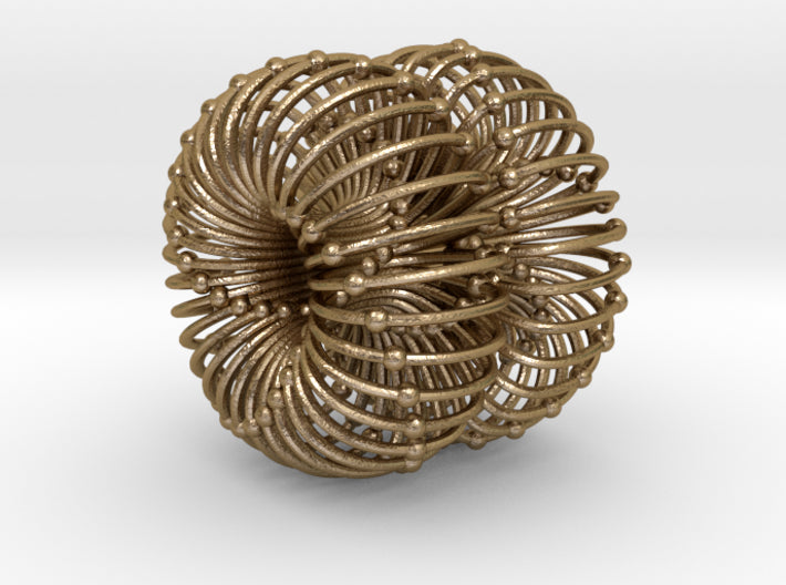 Double Torus Atomic/Planetary/Galactic Field 50mm-Mathematical Art-Polished Gold Steel-Sacred Geometry Web 3d printed geometric models