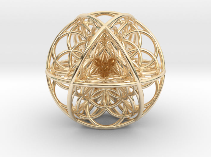 Seed Of Life Sacred Geometry 35mm-Mathematical Art-14k Gold Plated Brass-Sacred Geometry Web 3d printed geometric models