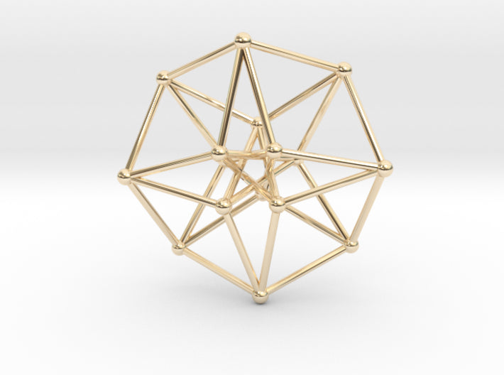 Toroidal Time Traveller Hypercube 35mm thin-Mathematical Art-14k Gold Plated Brass-Sacred Geometry Web 3d printed geometric models
