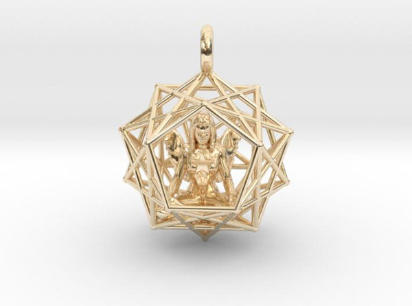 Angel Starship - Dodecahedral 27mm-Pendants and Necklaces-14k Gold Plated Brass-Sacred Geometry Web 3d printed jewellery