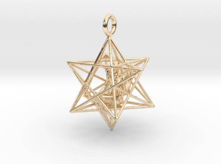 Angel Starship Stellated Dodecahedron 30mm-Pendants and Necklaces-14k Gold Plated Brass-Sacred Geometry Web 3d printed jewellery