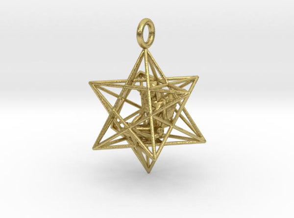 Angelstar Stellated Dodecahedron 30mm-Pendants and Necklaces-Natural Brass-Sacred Geometry Web 3d printed jewellery